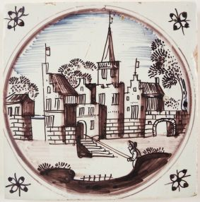 Antique Delft wall tile with a castle, 17th century