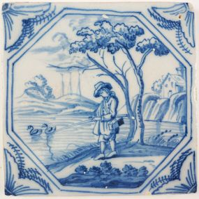 Antique Delft tile with a fisherman, 18th century