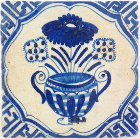 Antique Delft tile with a large oriental flower vase, 17th century