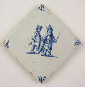Antique Delft tile with a King, 17th century