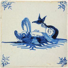 Antique Delft tile with a whale, 17th century