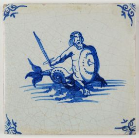 Antique Delft tile with a merman wielding a sword, 17th century