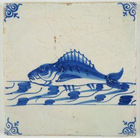 Antique Delft tile with a perch, 17th century