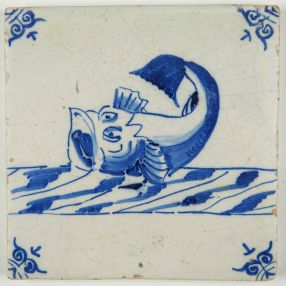 Antique Delft tile with a sea monster, 17th century
