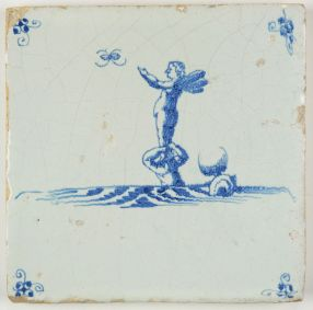Antique Delft tile with Cupid on top of a mermaid, 17th century