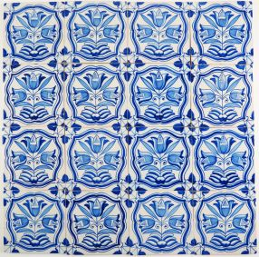 Antique Delft wall tile with tulips, 19th century