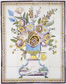 Antique Delft tile mural with a wonderful polychrome flower vase, 19th century