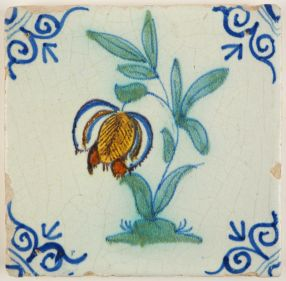 Antique Delft tile with a polychrome Snake's Head