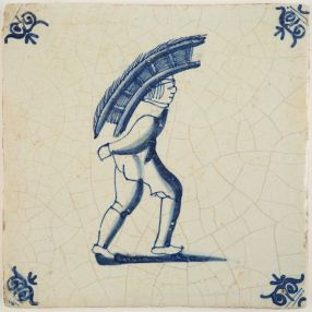 Delft tile depicting a man carrying goods on his back