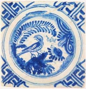 Antique Delft tile with a Chinese Garden in blue - miniature size, 17th century