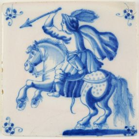 Antique Delft tile with a horseman wielding a spear, 18th century Rotterdam