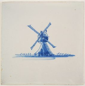 Antique Delft tile with a post-mill in blue, 18th century