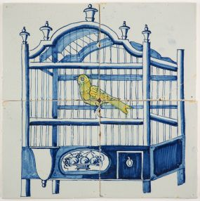 Antique Delft tile mural in blue with a yellow canary in a bird cage, 18th century