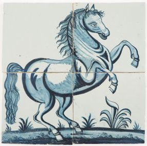 Antique Delft tile mural with a prancing horse in blue facing right, 19th century
