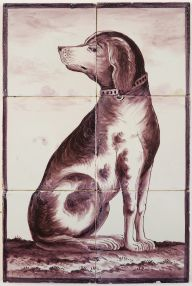 Antique Delft tile mural in manganese with a dog, 20th century