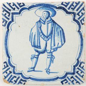 Antique Delft tile in blue depicting a gentleman, 17th century