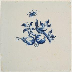 Antique Delft tile with a bird between fruits, Harlingen 18th century