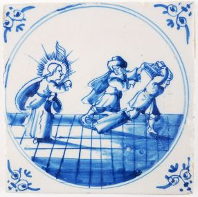 Antique Delft biblical tile depicting how Jesus expels the merchants from the temple, 18th century