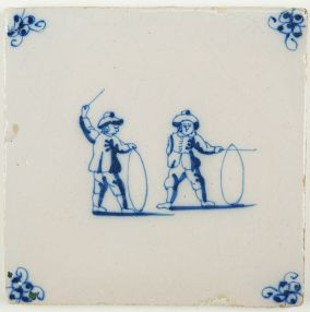 Antique Delft tile with two children playing with hoops, 18th century