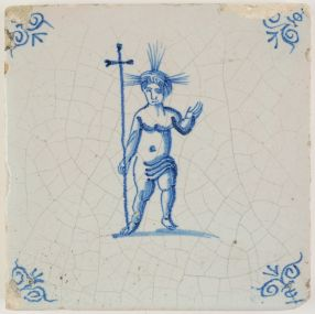 Antique Delft tile with the Christ Child, 17th century