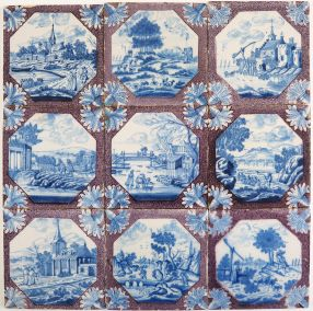Set of nine antique Delft tiles in blue and manganese with highly detailed landscape scenes, 18th century Rotterdam