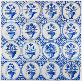 Antique Dutch Delft wall tiles with flower pots in blue 'Napoleon', 18th and 19th century