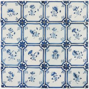 Antique Delft wall tiles in blue with small flowers in an octagon shaped border, 18th century