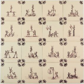 Set of antique Delft manganese tiles with balancing acts performed by acrobats, 19th century