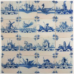 Antique Delft wall tiles with open landscapes in blue, 18th/19th century