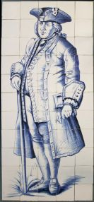 Rare and large tile mural made by the Royal factory of Tichelaar depicting a 17th century marine captain