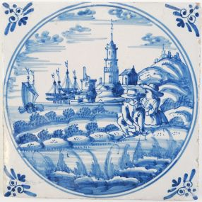 Antique Delft tile with a man and a woman infront of a romantic harbor landscape scene, 18th century