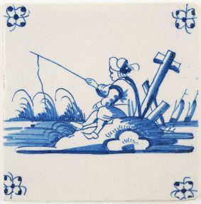 Antique Delft tile landscape tile with a man fishing, 18th century