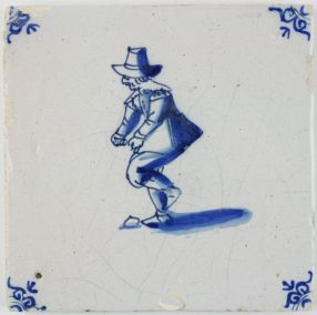Antique Delft tile with a child playing a game of Hopscotch, 17th century