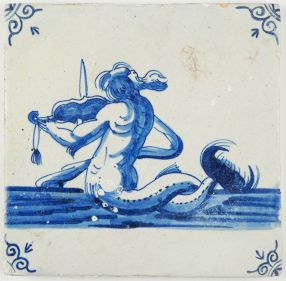 Antique Dutch Delft tile with a merman playing on a violin, 17th century