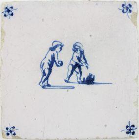 Antique Dutch Delft tile depicting Putti bowling, 17th century