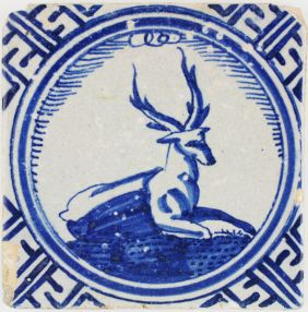 Antique Dutch Delft tile known as 'Kroontegel' depicting a wonderful stag, 17th century