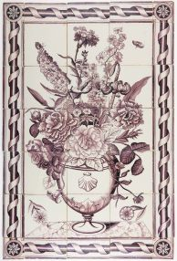 Antique Delft tile mural with a richly decorated flower vase in manganese and a cable cord border, 18th century