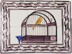 Antique Delft tile mural with a manganese birdcage and a yellow canary, 18th century