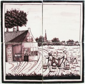 Antique Dutch Delft manganese tile mural with a farm scene
