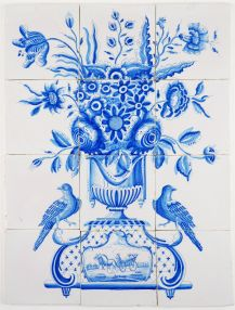 Antique Delft tile mural with a richly decorated with flower vase and two beautiful birds on each side, late 18th century