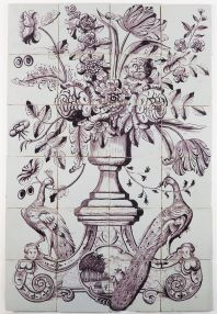 Antique Delft tile mural in manganese with a richly decorated flower vase with peacocks on each side, 18th century