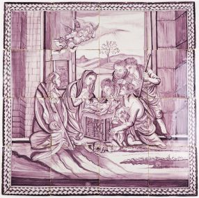Antique Delft tile mural depicting baby jesus in the manger, 18th century