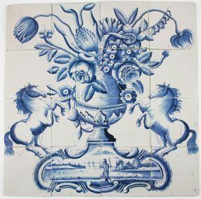 Antique Dutch Delft tile mural with a flower vase and prancing horses, 18th century