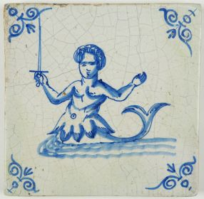 Antique Dutch Delft tile in blue with a mermaid wielding a sword, 17th century
