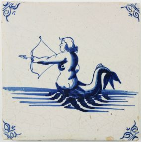 Antique Dutch Delft tile with a merman shooting a bow and arrow, 17th century
