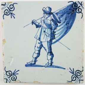 Antique Dutch Delft tile depicting a soldier as a Standard-Bearer