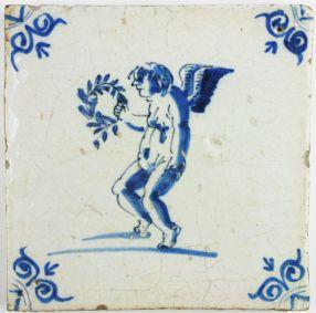Dutch Delft tile depicting Cupid holding a laurel wreath