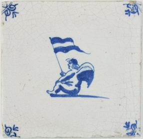 Antique Delft tile with Cupid sitting while holding a flag, 17th century
