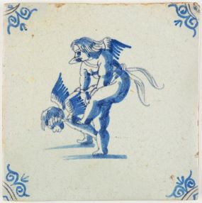 Antique Delft tile with two Cupids playing a game of leapfrog, 17th century