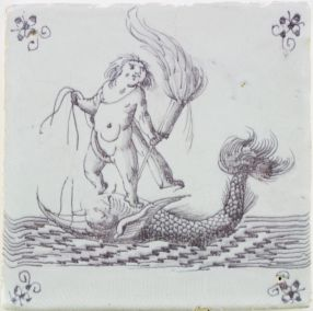 Antique Dutch Delft wall tile depicting Cupid holding a torch while riding a dolphin, 17th century